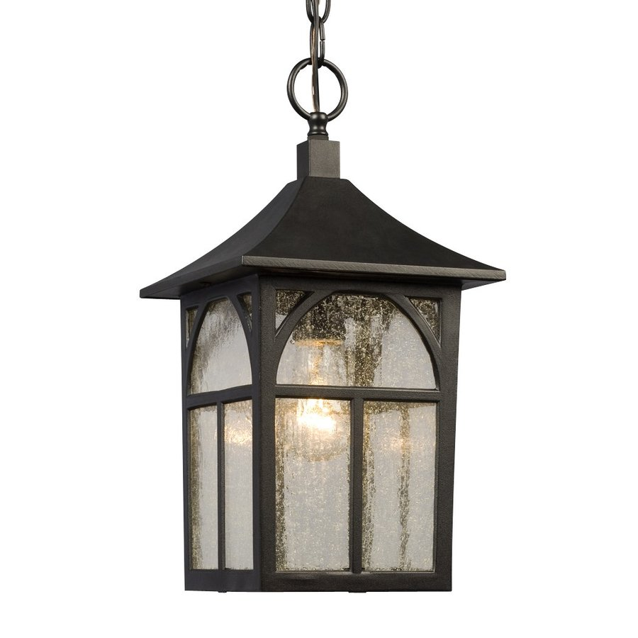 Outdoor Hanging Lanterns Lowes: Galaxy Black Mini Coastal Seeded Glass Lantern Pendant At