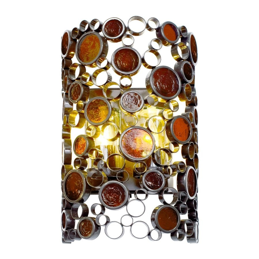 Varaluz Fascination 19-in H Glossy Bronze/Amber Outdoor Wall Light
