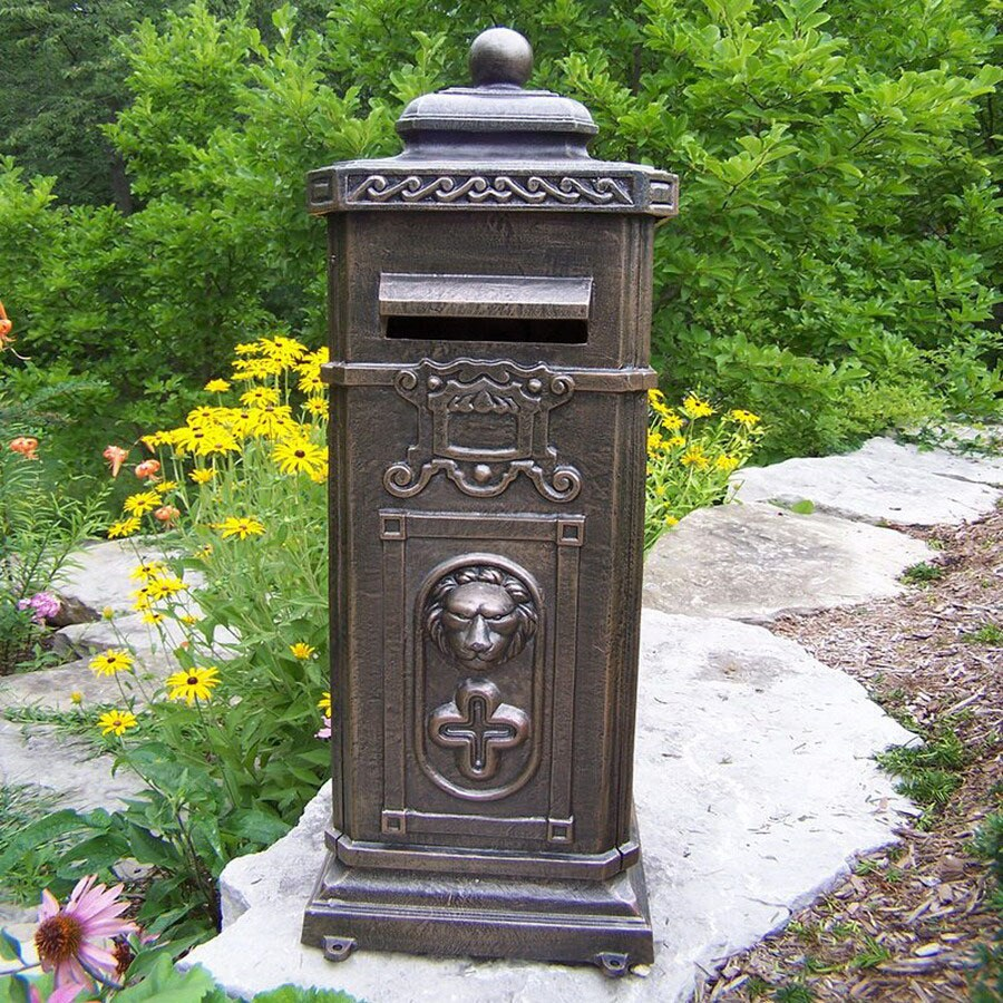 Oakland Living Kensington 17-in x 40-in Metal Antique Bronze Lockable Recessed Mount Mailbox