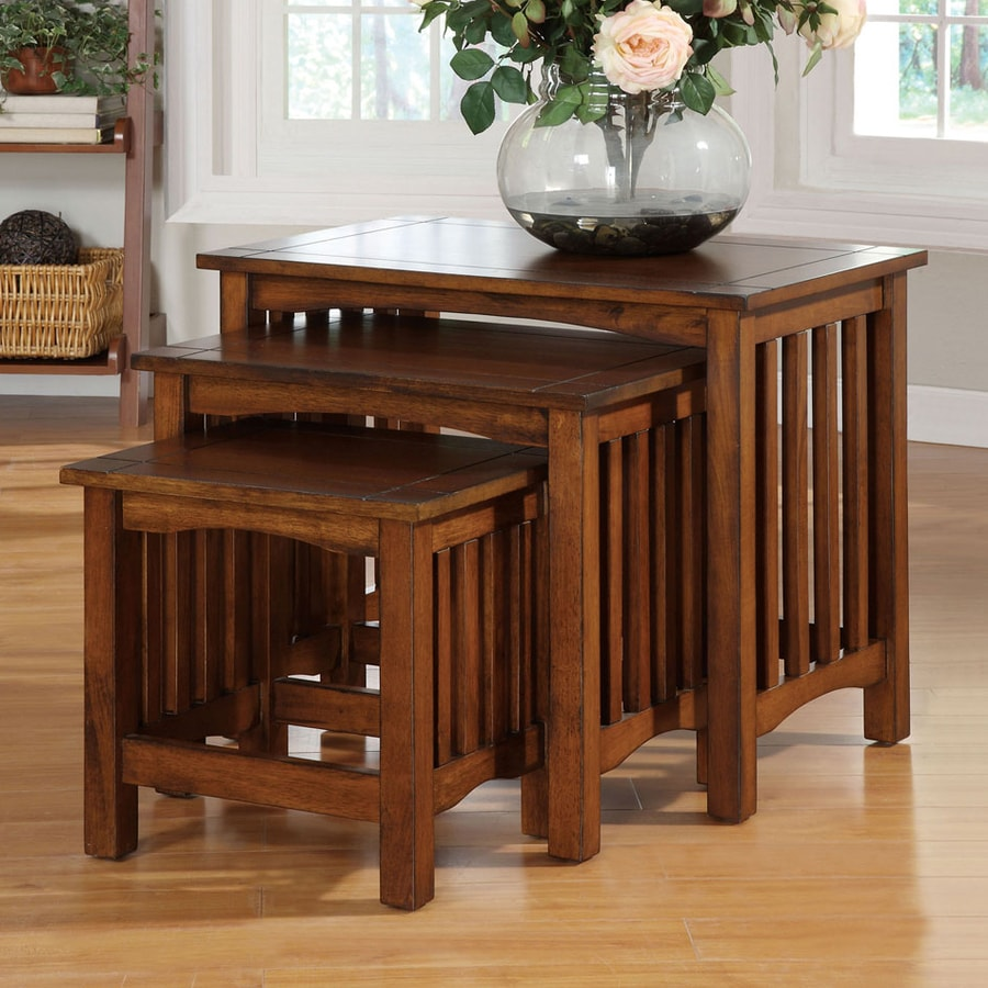 Furniture of America Valencia 3-Piece Antique Oak Birch Accent Table Set