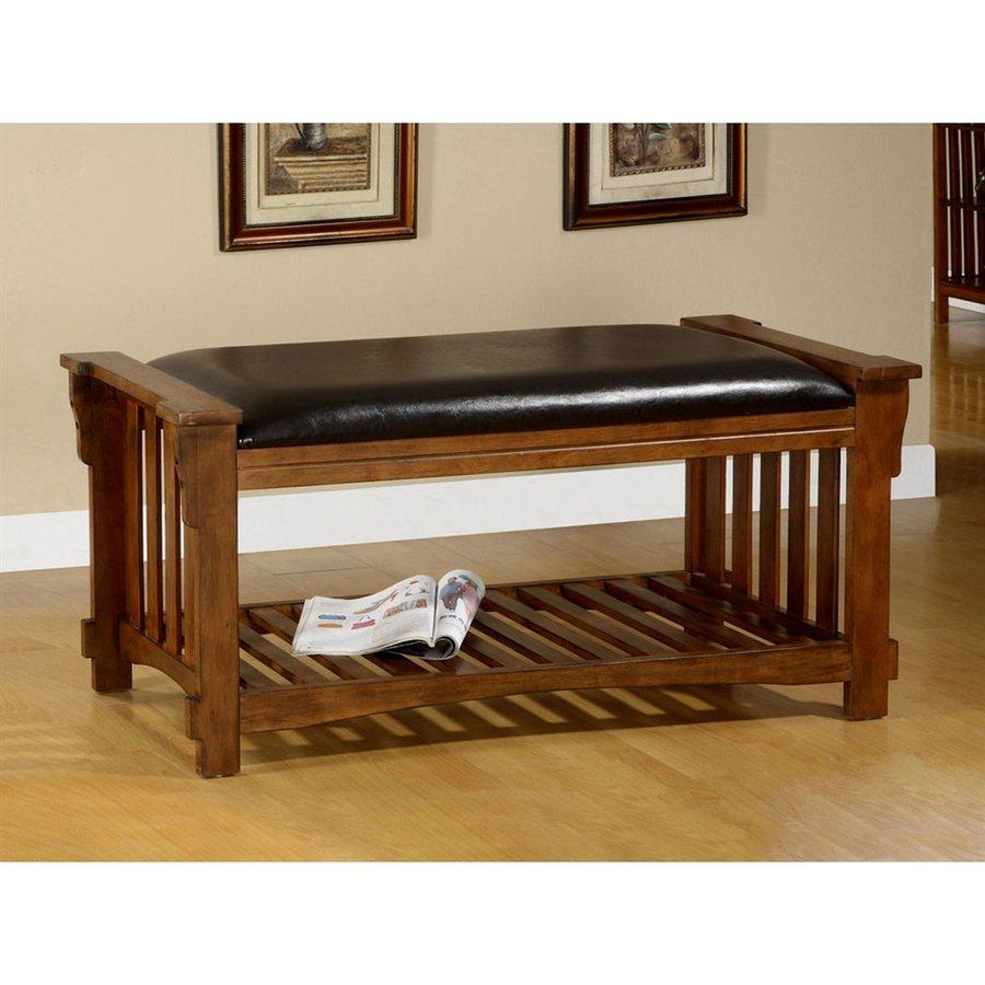Furniture of America Salford Antique Oak Indoor Accent Bench