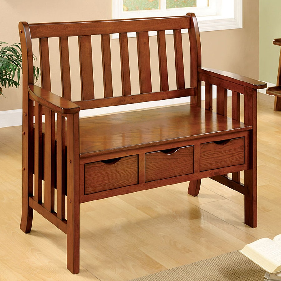 Bon Furniture Of America Pine Crest Mission/Shaker Oak Storage Bench