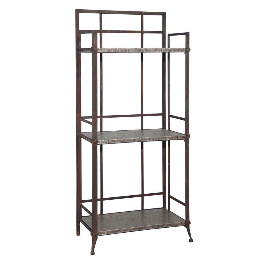 Powell Foundry Antique Pewter 51.63-in 3-Shelf Bookcase