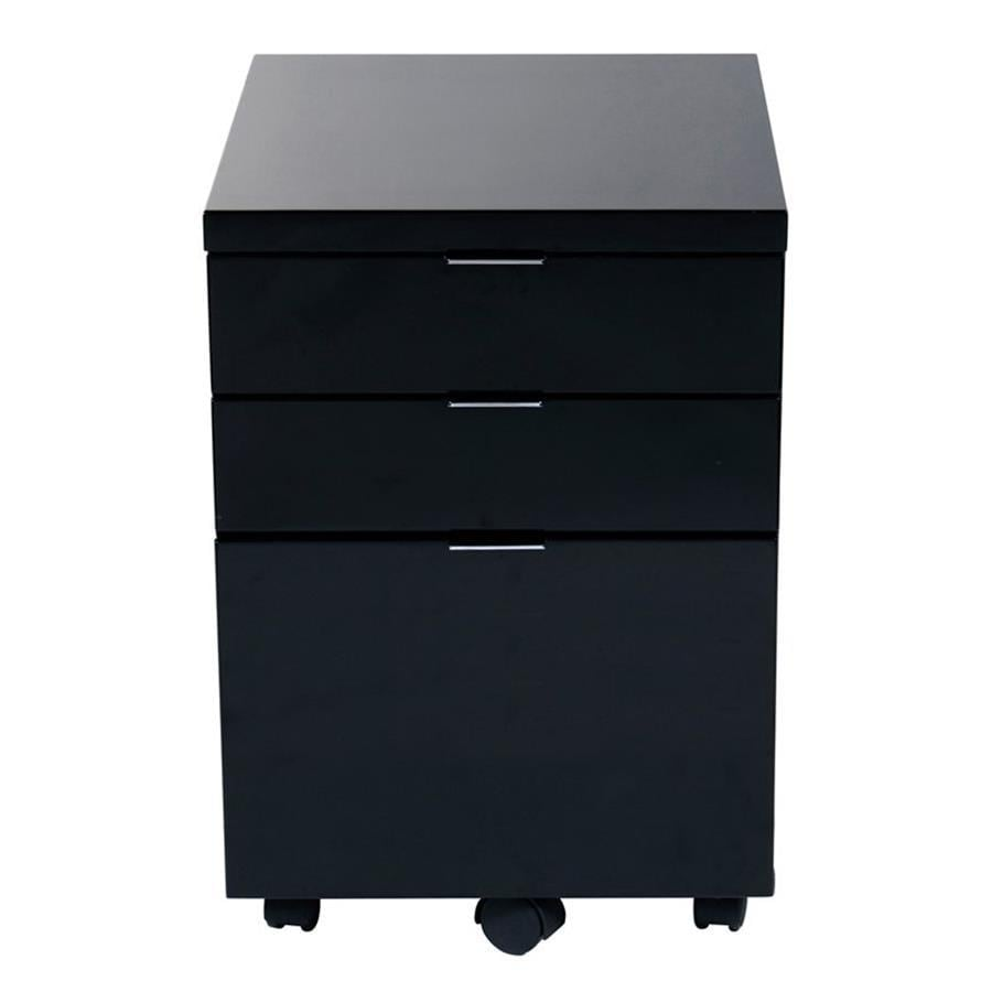 Eurostyle Gilbert Black 3-Drawer File Cabinet