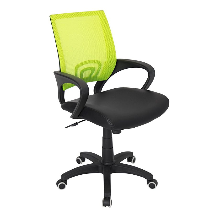 shop lumisource black lime green leather task office chair