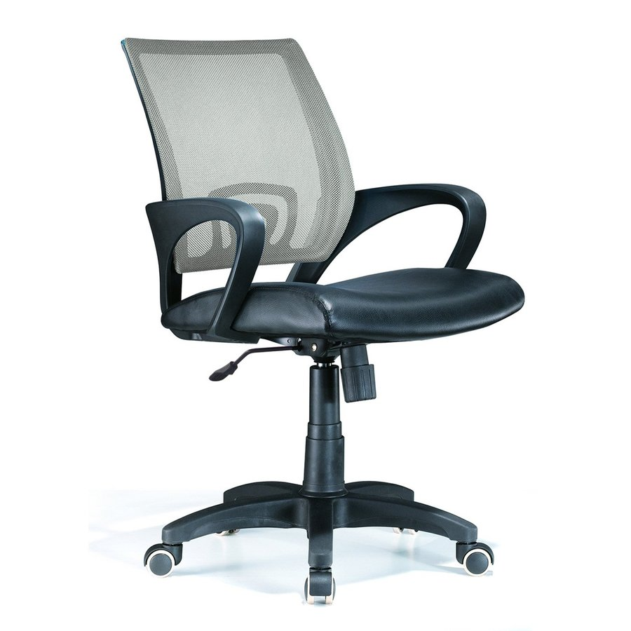 Lumisource Black/Silver Leather Executive Office Chair