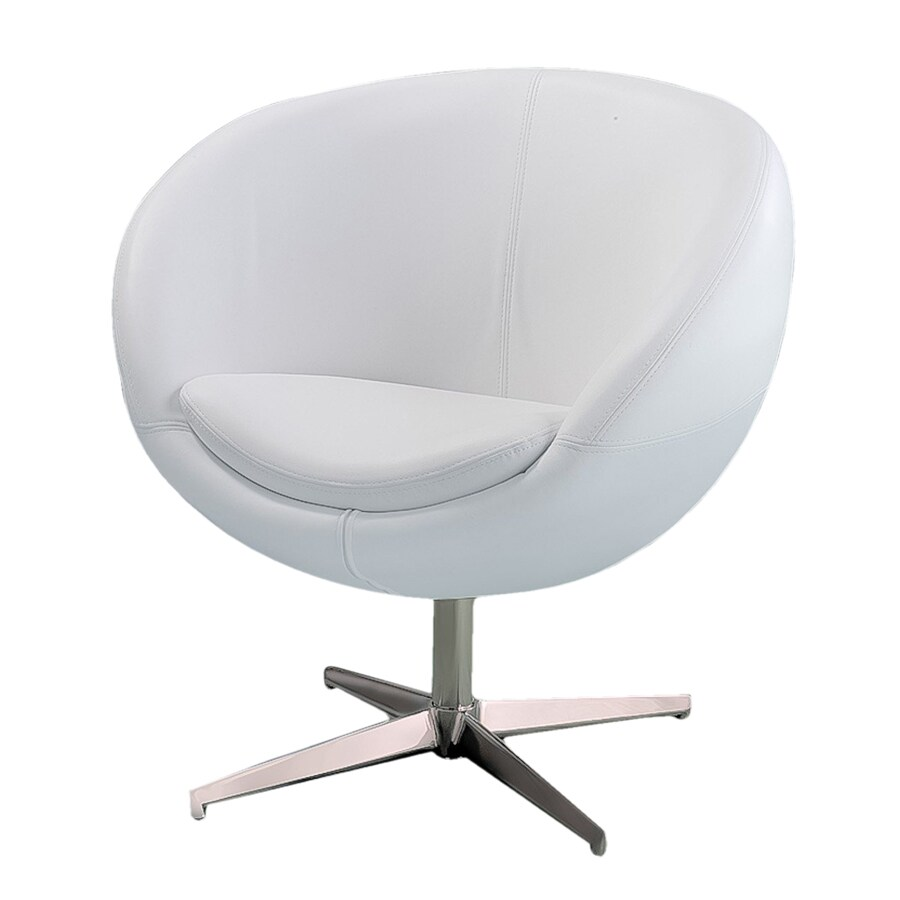 Shop best selling home decor modern white faux leather for Modern white leather chair