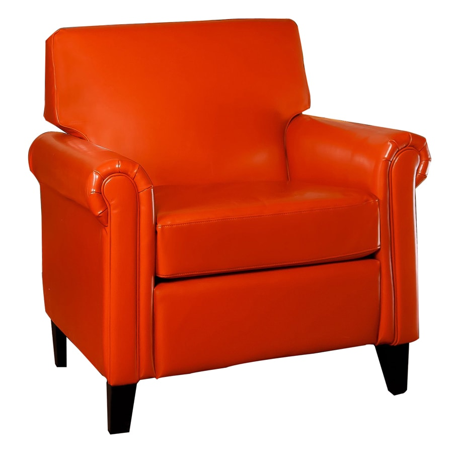 Best Selling Home Decor Lennox Burnt Orange Faux Leather Club Chair