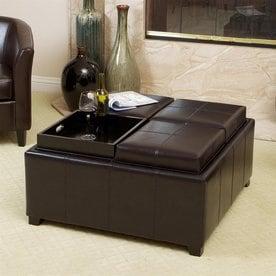Best Selling Home Decor Mason Casual Espresso Faux Leather Storage Ottoman