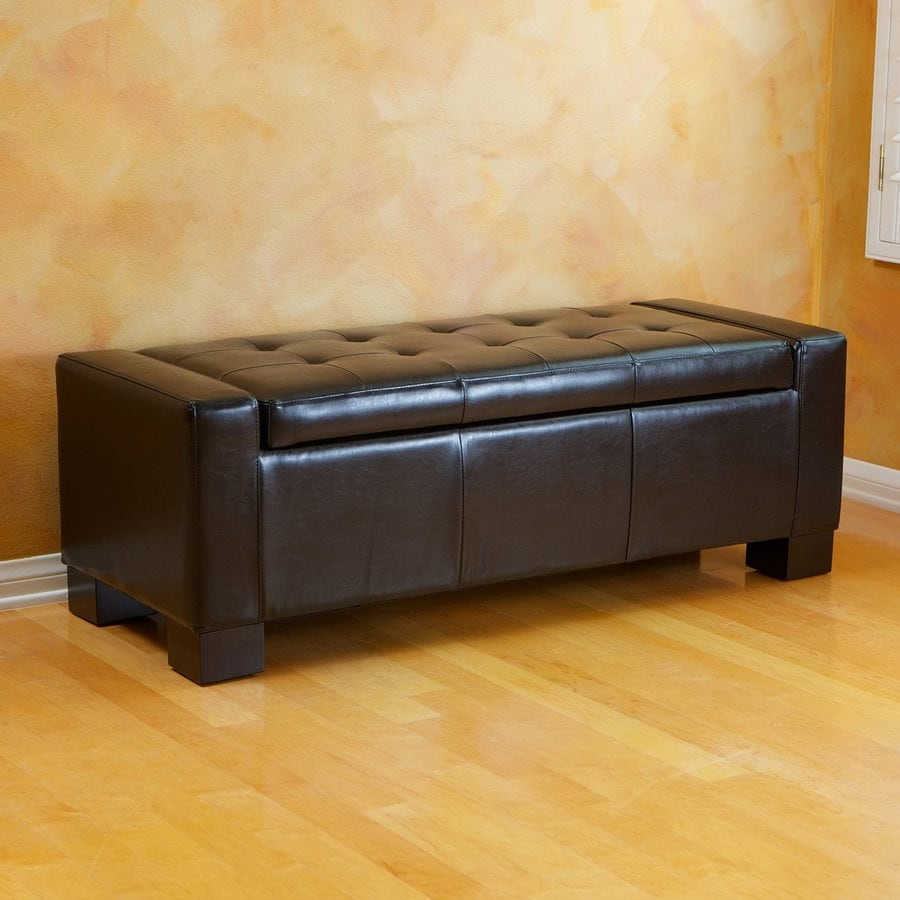 Best Selling Home Decor Guernsey Black Faux Leather Ottoman