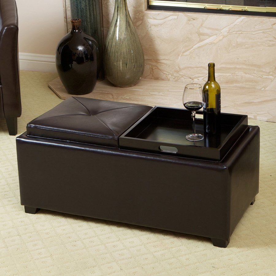 Best Selling Home Decor Maxwell Espresso Faux Leather Ottoman