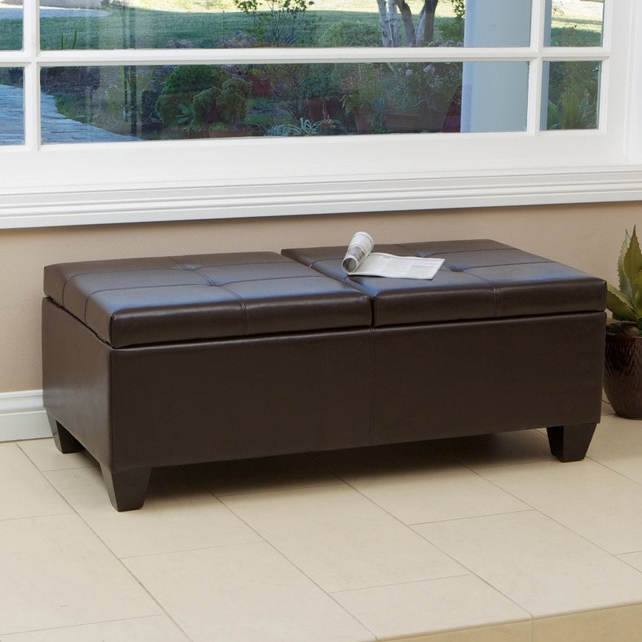 best selling home decor alfred brown faux leather ottoman - Brown Leather Ottoman