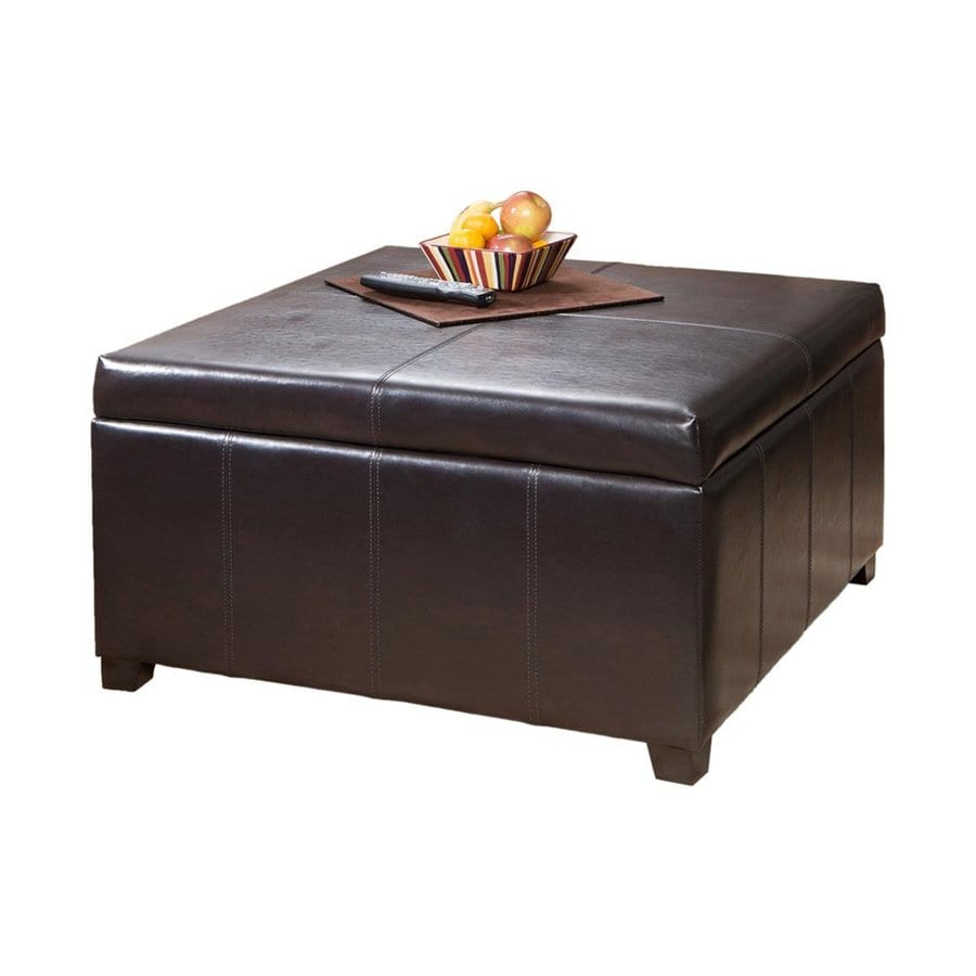 Best Selling Home Decor Forrester Brown Faux Leather Ottoman