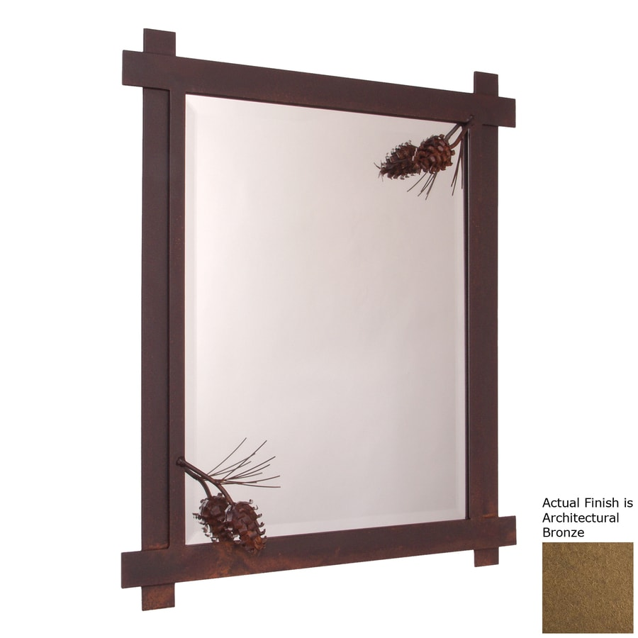 Steel Partners Ponderosa Pine 21.5-in x 25-in Architectural Bronze Rectangle Framed Wall Mirror