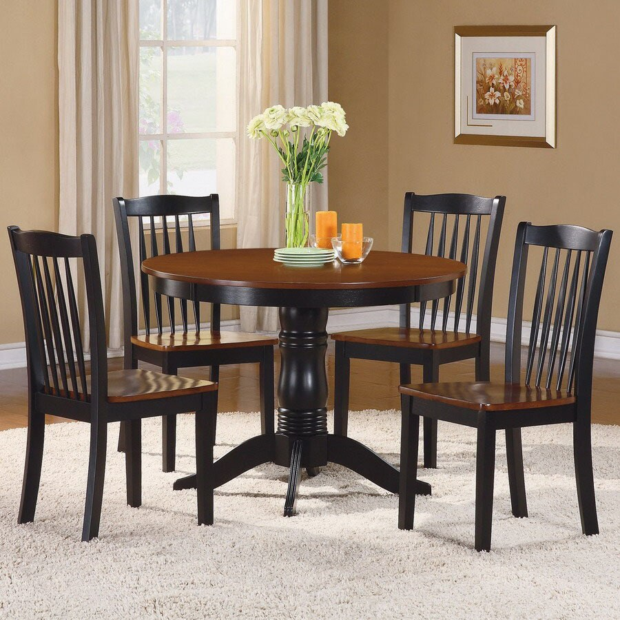 Homelegance Andover Antique Oak and Black 1-Piece Dining Set with Round Dining Table