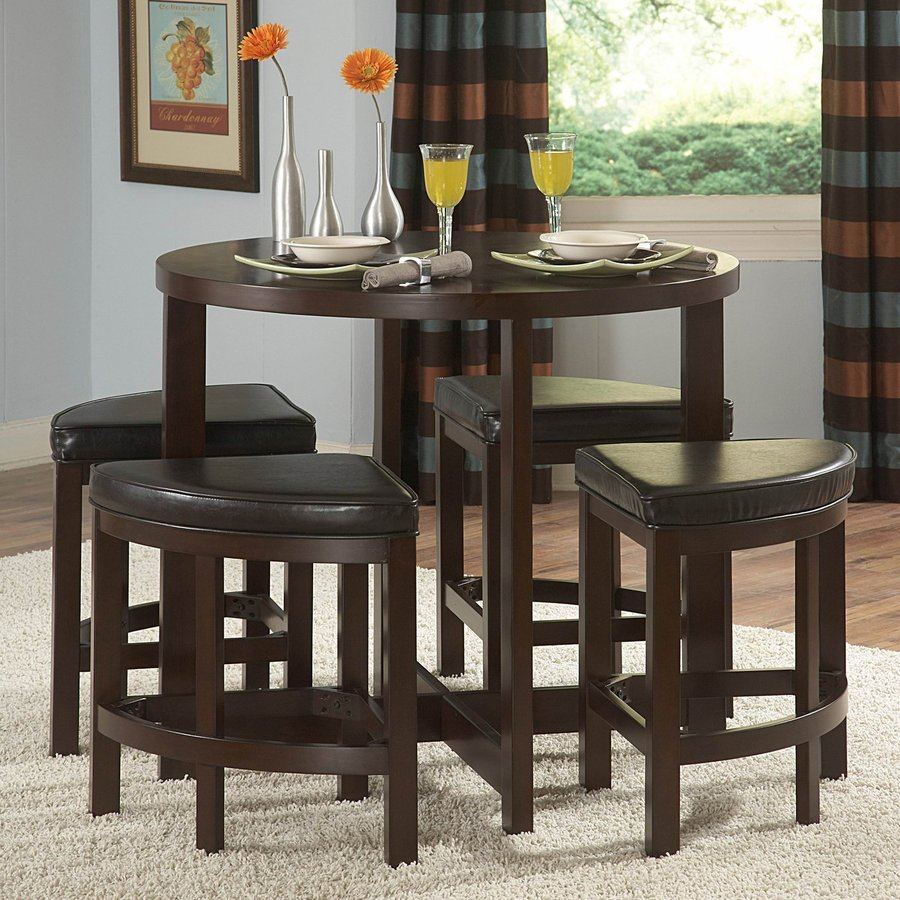 Shop Homelegance Brussel Brown Cherry 5 Piece Dining Set With Round Counter Height Table At