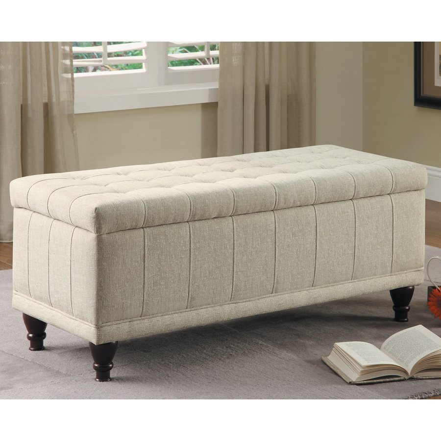 Shop Homelegance Afton Cream Rectangle Storage Ottoman at Lowescom