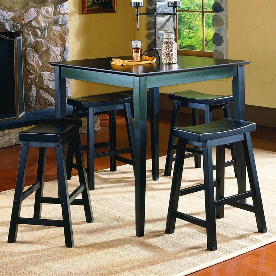 Homelegance Saddleback Black Sand-Through Dining Set with Square Counter Table