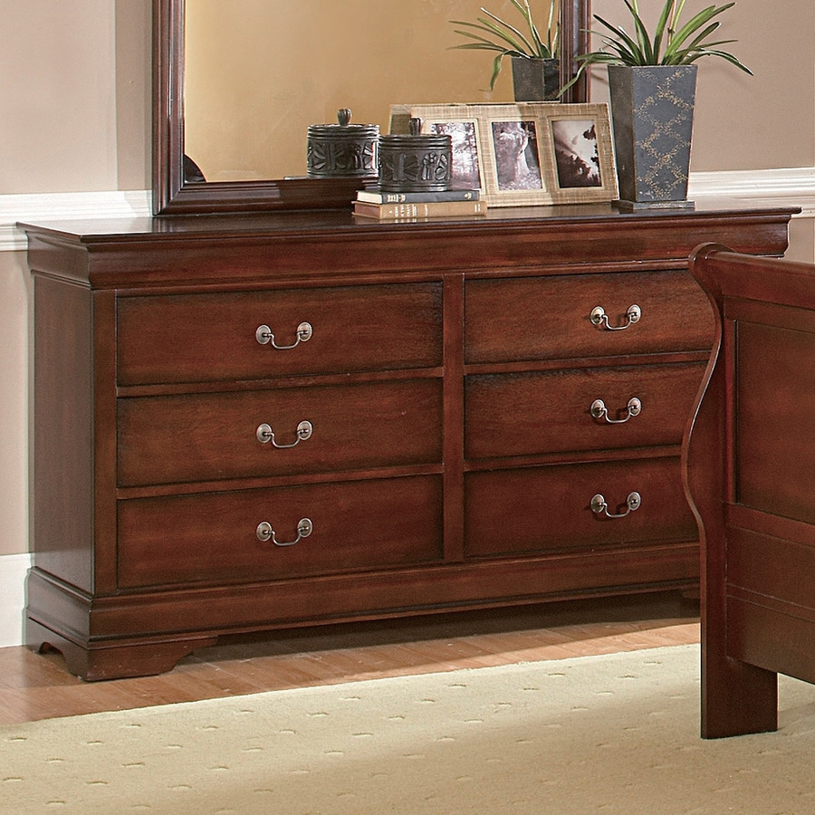 Homelegance Chateau Brown Distressed Cherry 6 Drawer Dresser