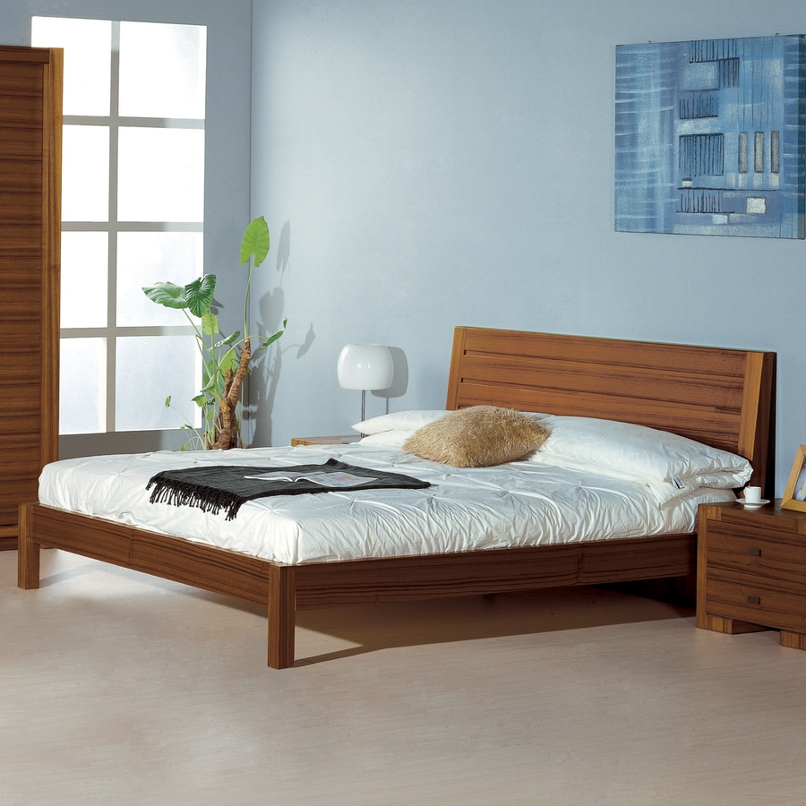 Beverly Hills Furniture Alpha Teak Queen Platform Bed