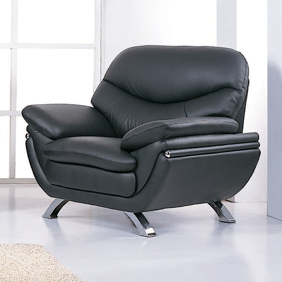 BH Design Jonus Modern Black Leather Accent Chair & Shop BH Design Jonus Modern Black Leather Accent Chair at Lowes.com
