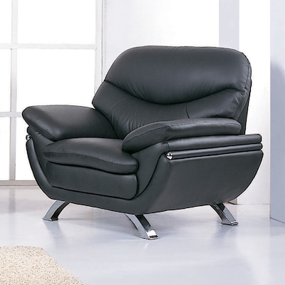 Terrific Bh Design Jonus Modern Black Leather Accent Chair At Lowes Com Ocoug Best Dining Table And Chair Ideas Images Ocougorg