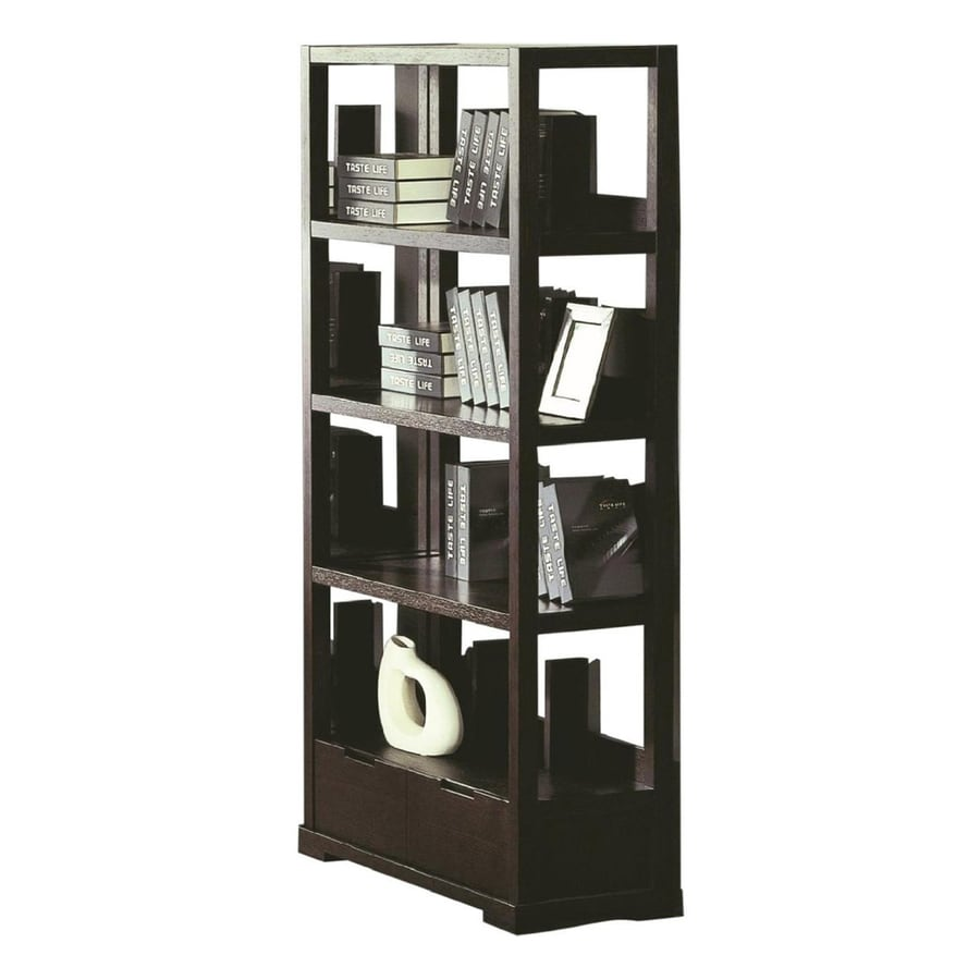 Beverly Hills Furniture Parson Wenge 35-in W x 73-in H x 16-in D 4-Shelf Bookcase