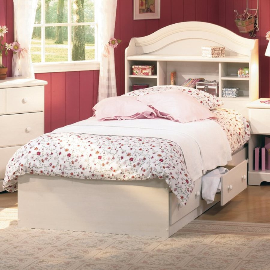 Merveilleux South Shore Furniture Summer Breeze White Wash Twin Platform Bed With  Storage