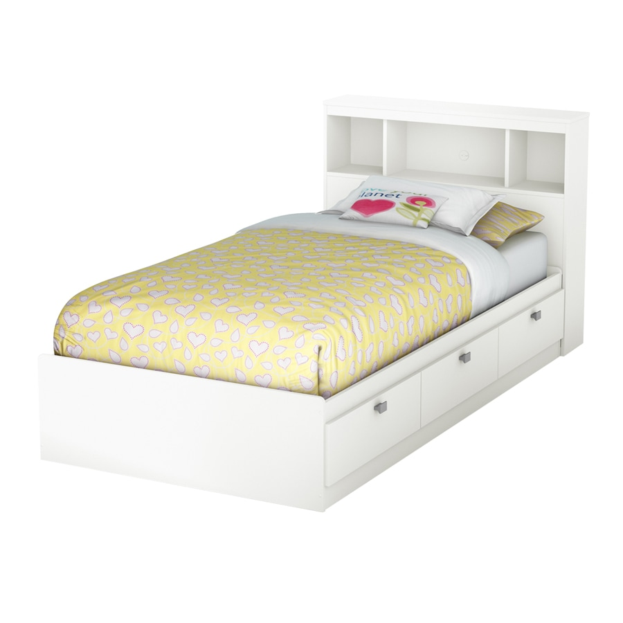 South Shore Furniture Sparkling Pure White Twin Platform Bed with Storage