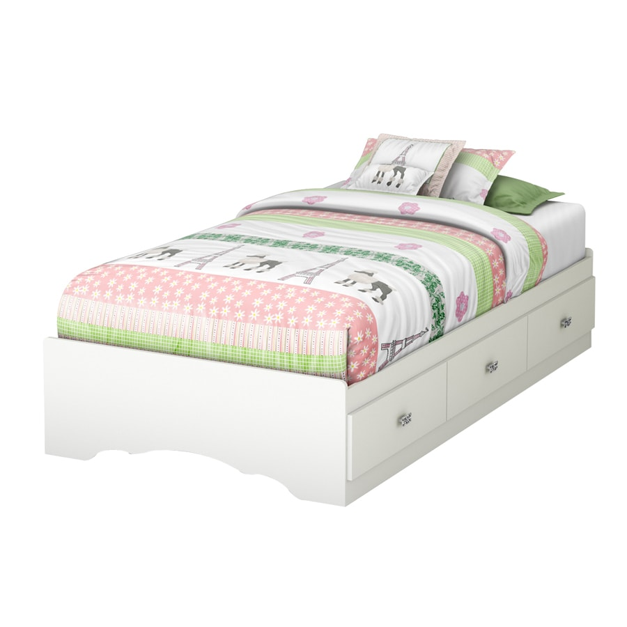 Twin platform bed with drawers - South Shore Furniture Tiara Pure White Twin Platform Bed With Storage