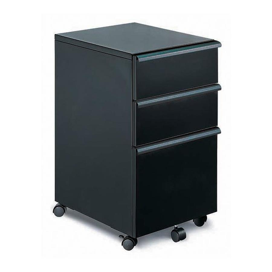 New Spec Black 3 Drawer File Cabinet