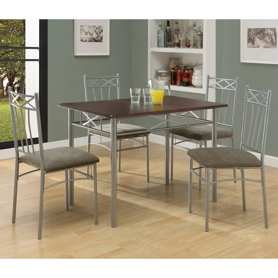 Monarch Specialties Cappuccino 5-Piece Dining Set with Dining Table