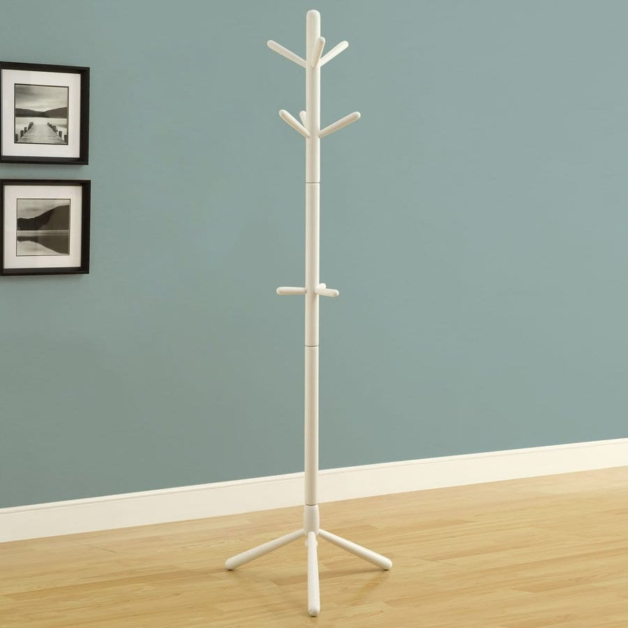 Monarch Specialties White 9-Hook Coat Stand