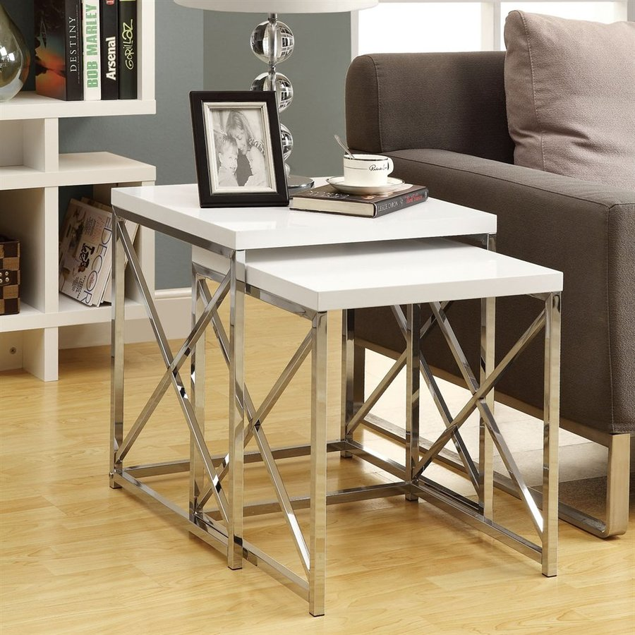 Monarch Specialties 2-Piece White Accent Table Set