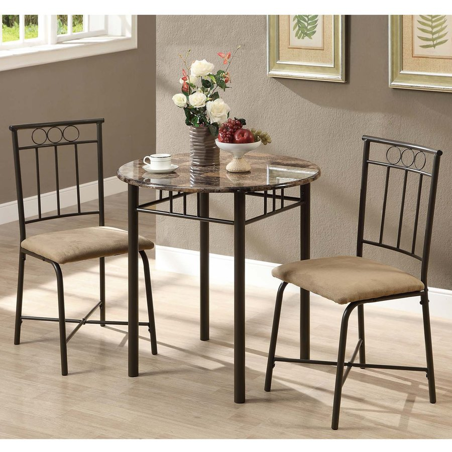 Monarch Specialties Cappuccino Dining Set with Round Table