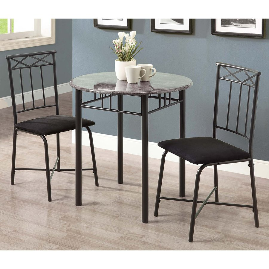 Monarch Specialties Grey Dining Set with Round Dining ...