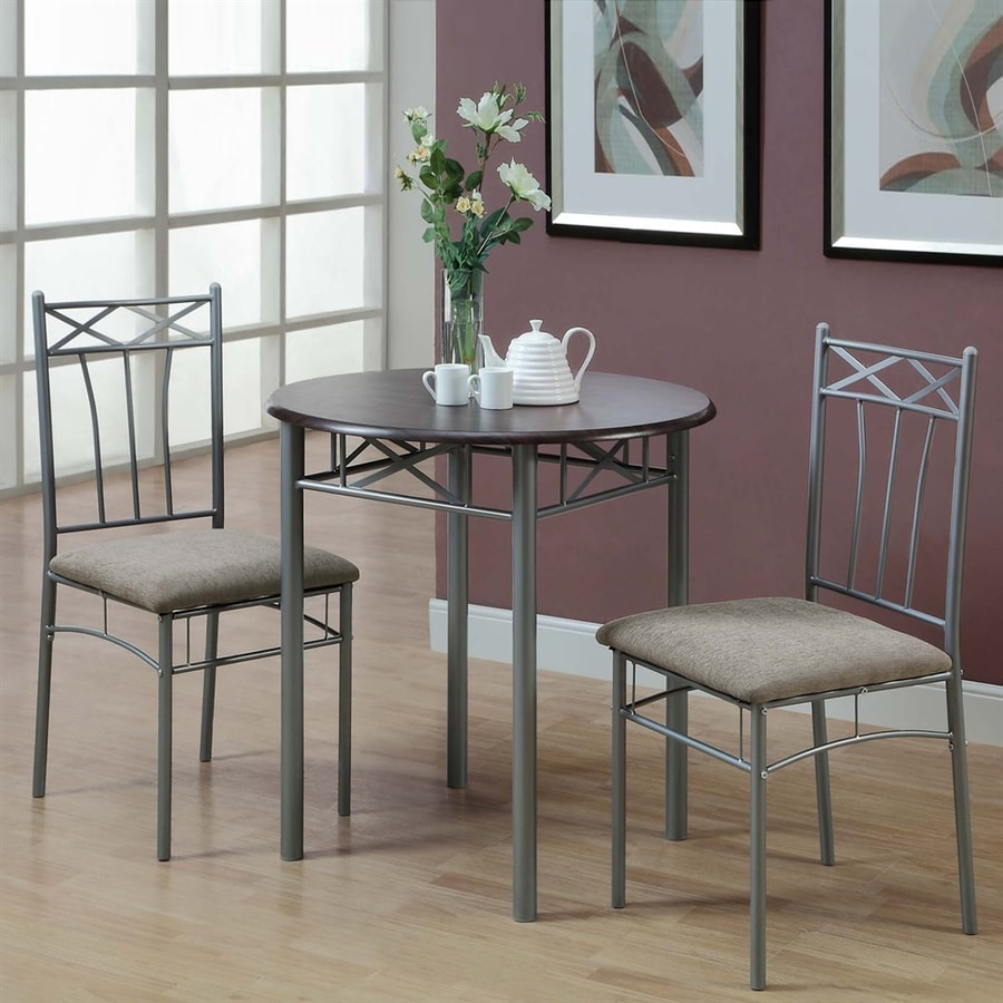 Monarch Specialties Cappuccino/Silver Dining Set with Round Dining Table