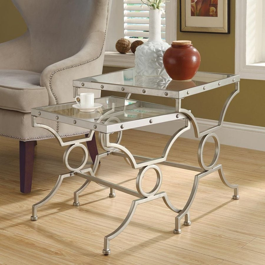Monarch Specialties 2-Piece Satin Silver Accent Table Set