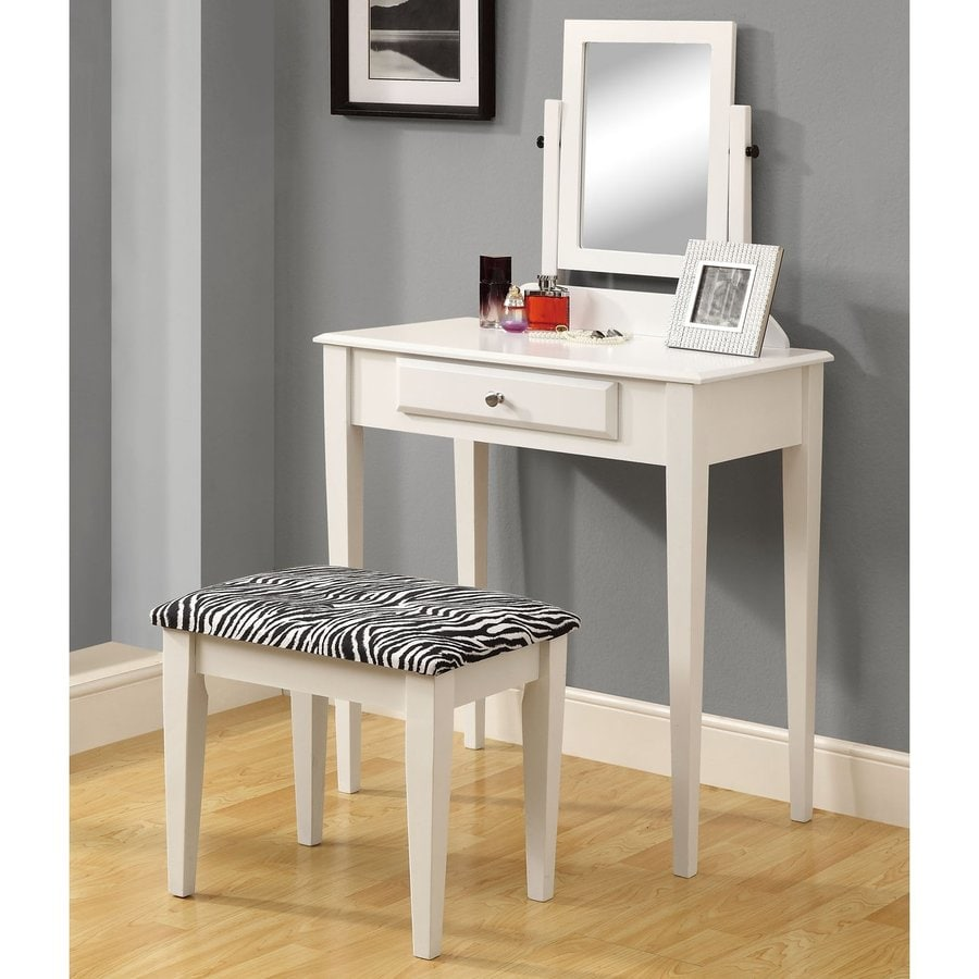 Monarch Specialties White Makeup Vanity with Stool