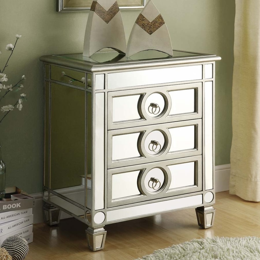Monarch Specialties Silver Mirror Nightstand At Lowes Com
