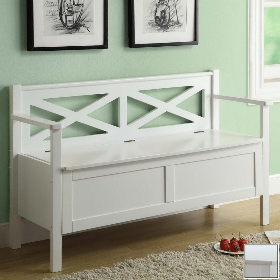 Monarch Specialties White Indoor Entryway Bench
