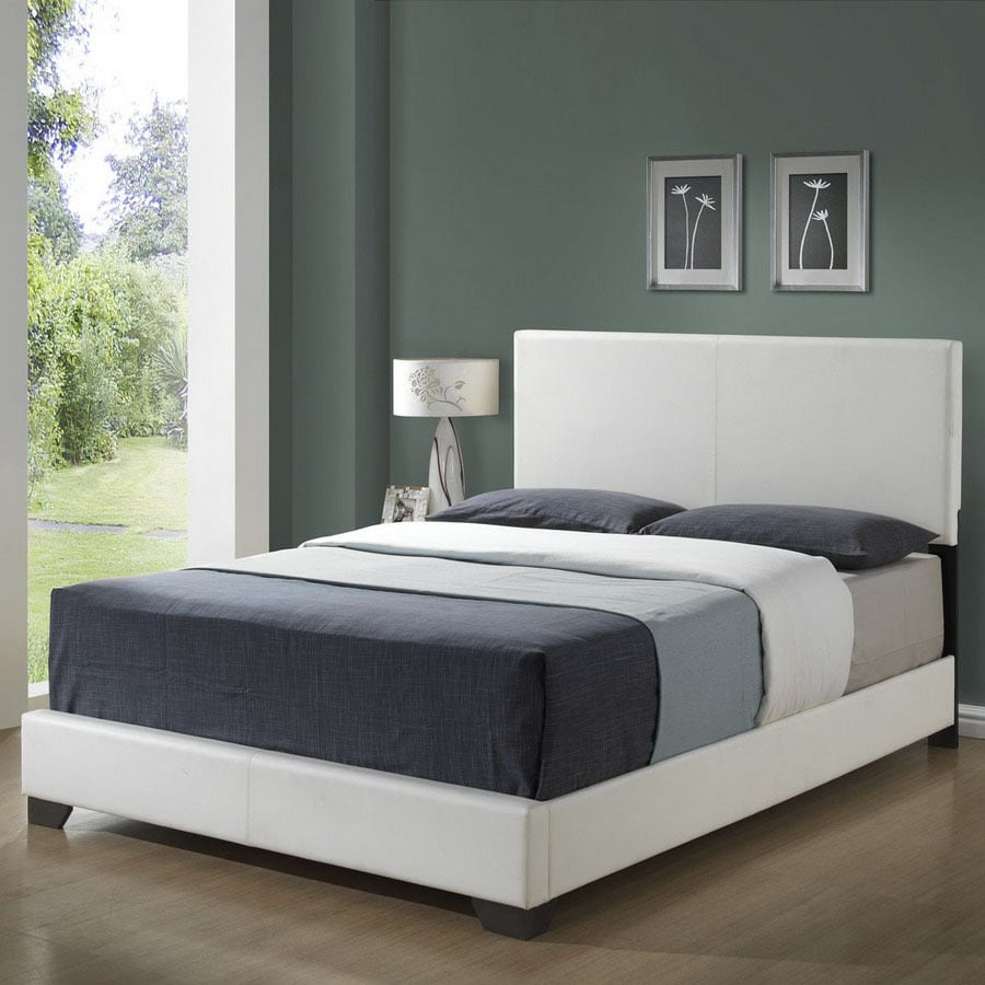 Monarch Specialties White Queen Low Profile Bed