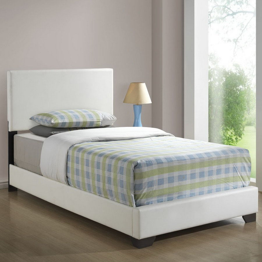Shop monarch specialties white twin low profile bed at - Low double bed images ...