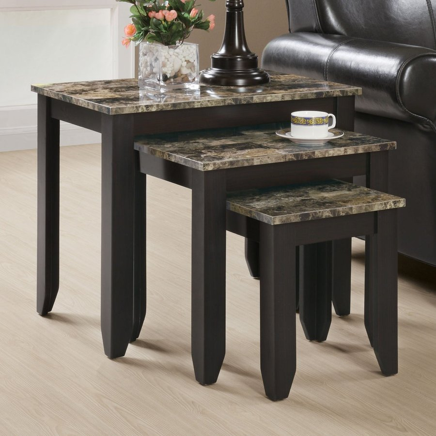 Monarch Specialties 3-Piece Cappuccino Accent Table Set