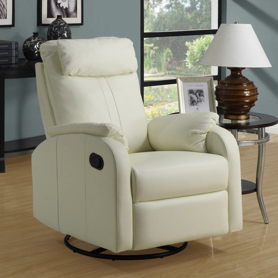 Monarch Specialties Ivory Bonded Leather Swiveling Recliner
