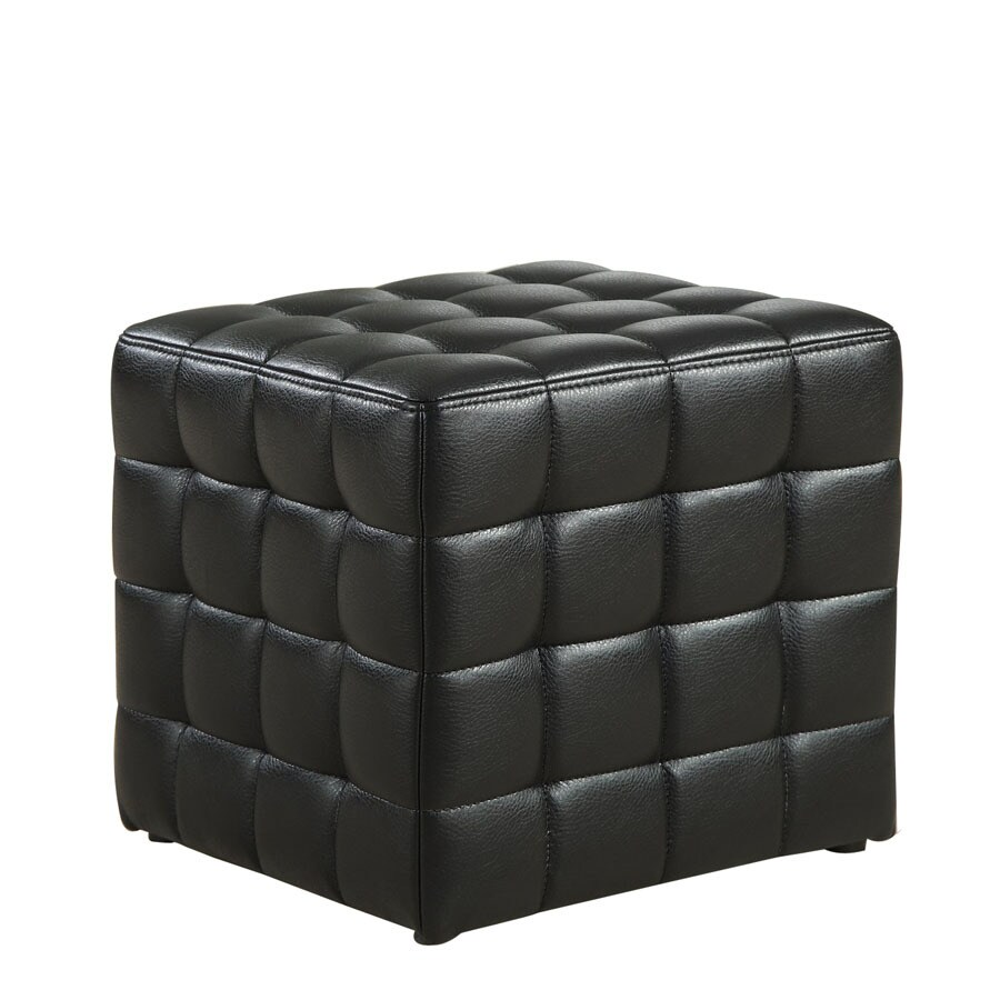 Monarch Specialties Modern Black Faux Leather Ottoman