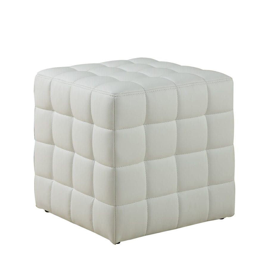 shop monarch specialties modern white faux leather square ottoman at