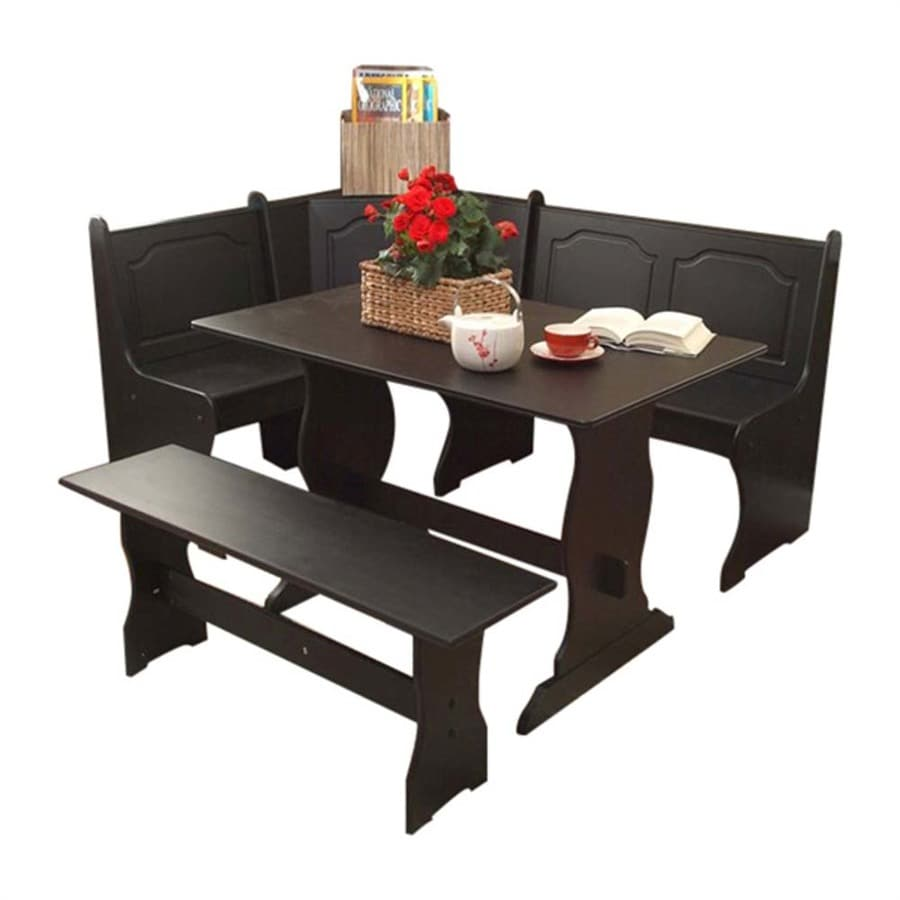 Shop tms furniture nook black dining set with corner for Black dining table set