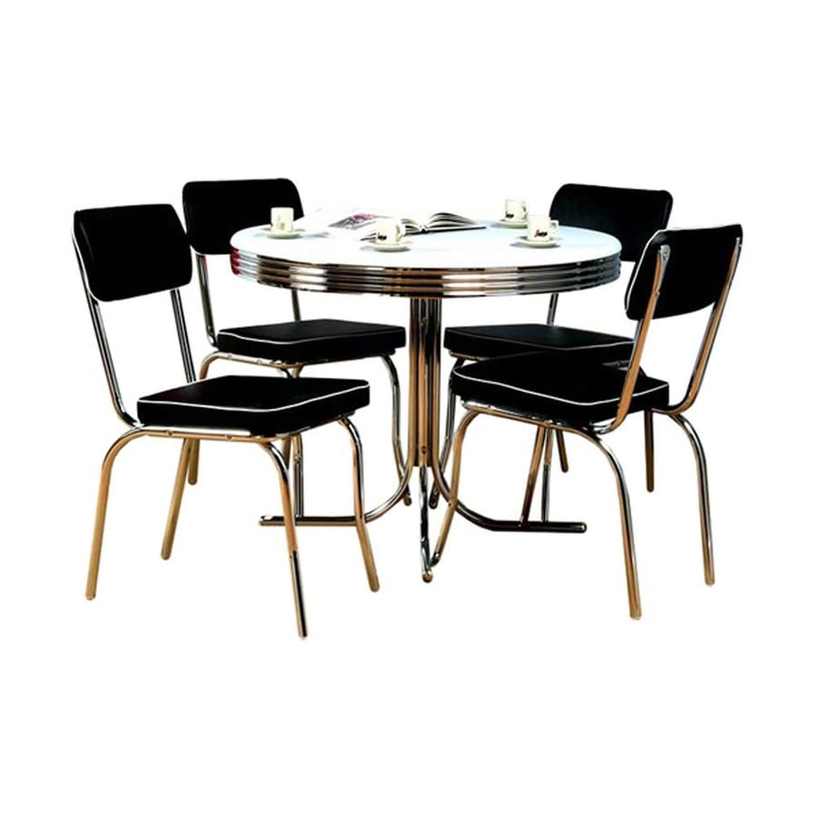 Black And White Retro Dining Table And Chairs Set: TMS Furniture Retro Black Dining Set With Round Dining