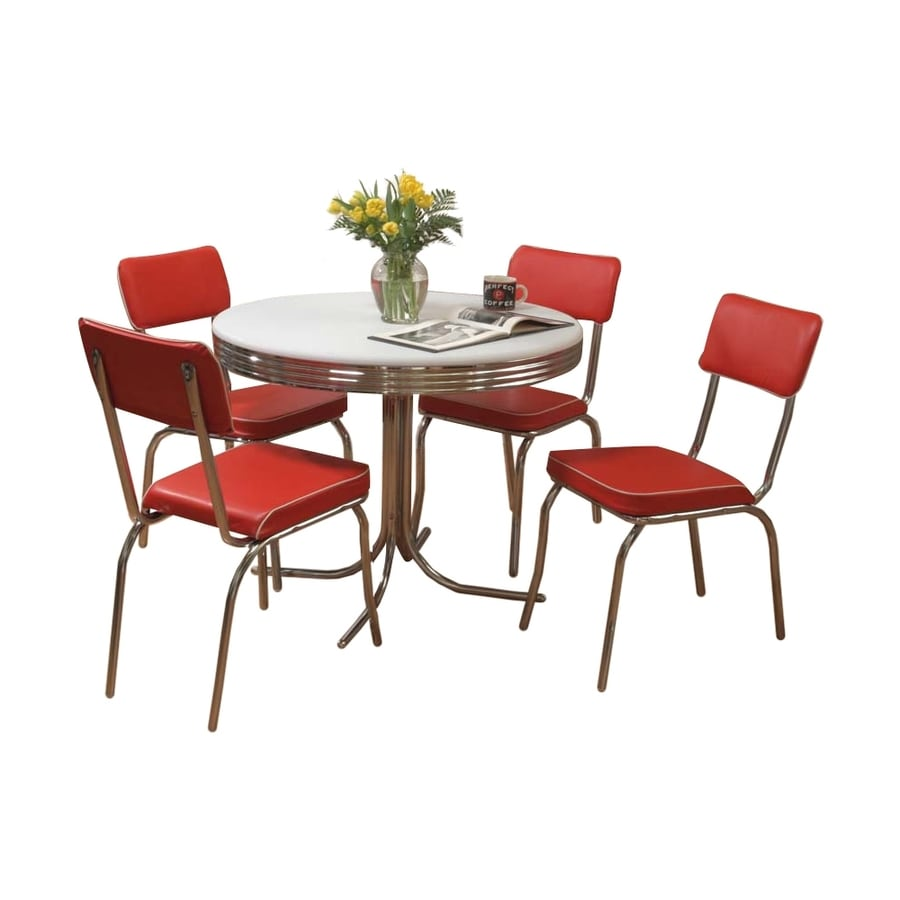 Shop tms furniture retro red 5 piece dining set with round for Kitchen dining furniture